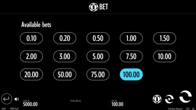 Available Bets - from 0.10 to 100.00