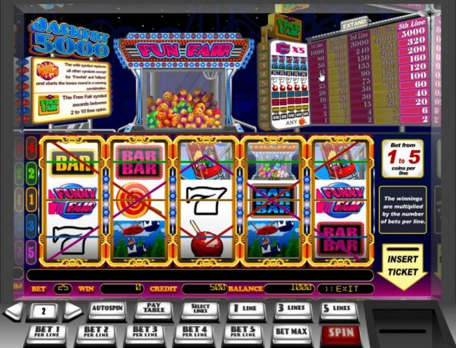 Triple Aces featuring the Video Slots Fun Fair with a maximum payout of $50,000