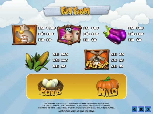 Venetian featuring the Video Slots Fun Farm with a maximum payout of $25,000