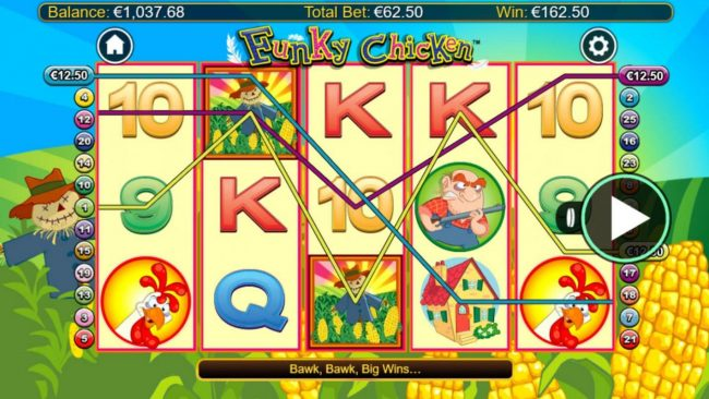 Maxino featuring the Video Slots Funky Chicken with a maximum payout of $250,000