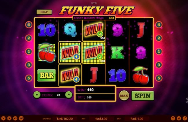 3Dice featuring the Video Slots Funky Five with a maximum payout of $5,000