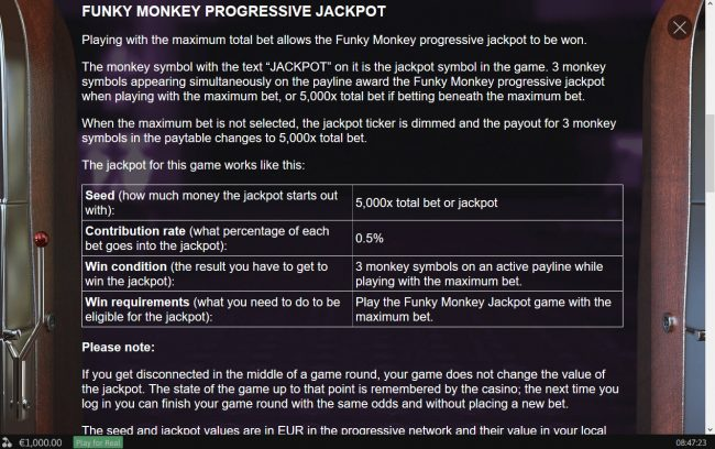 Funky Monkey Jackpot :: General Game Rules