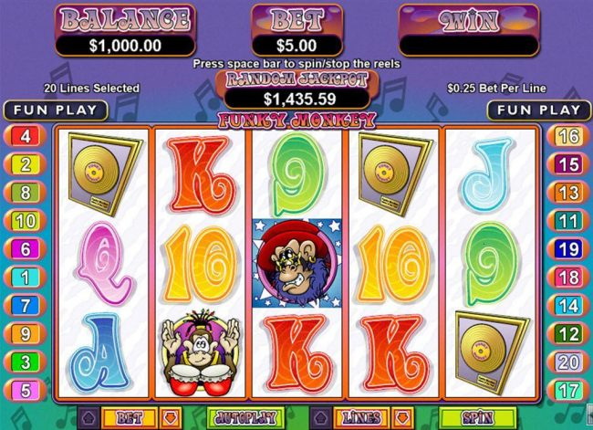 Plenty Jackpots featuring the Video Slots Funky Monkey with a maximum payout of $250,000