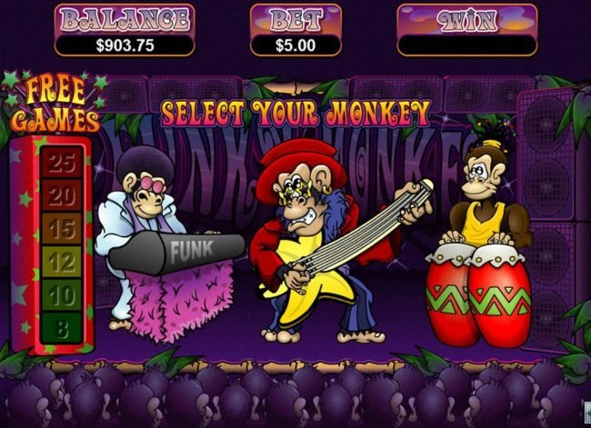 Grande Vegas featuring the Video Slots Funky Monkey with a maximum payout of $250,000