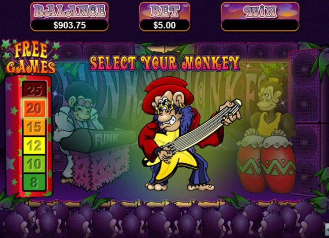 Funky Monkey :: Guitar playing monkey selection leads to a 25 free game award.
