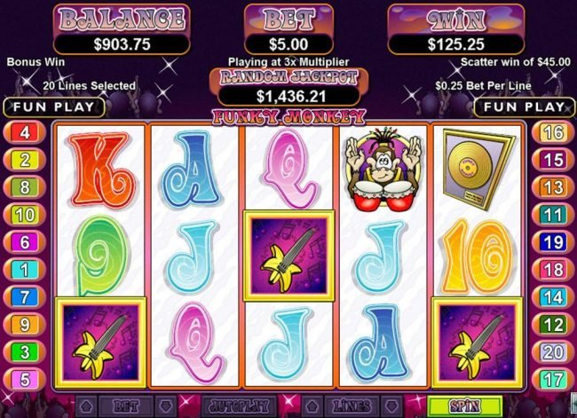 Winners Playground featuring the Video Slots Funky Monkey with a maximum payout of $250,000