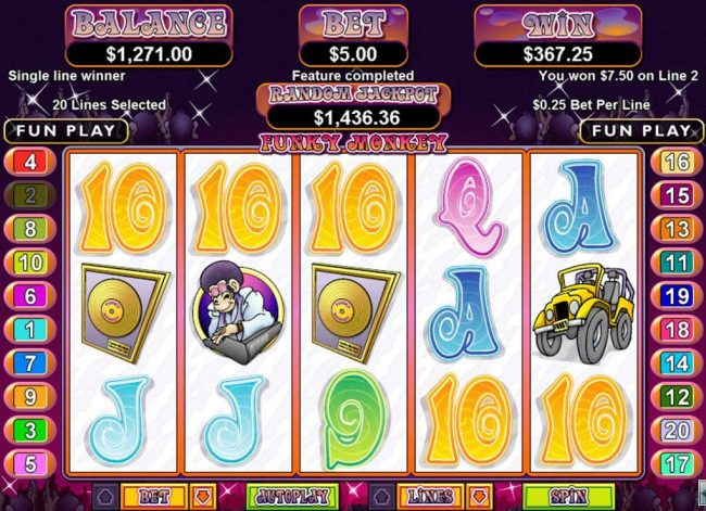 Cherry Jackpot featuring the Video Slots Funky Monkey with a maximum payout of $250,000