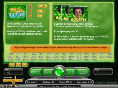 Betting Ways featuring the Video Slots Funky Seventies with a maximum payout of $2,500