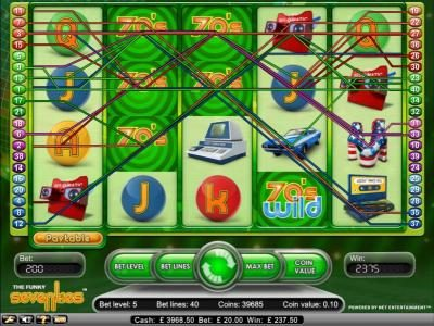 Jackpot Mobile featuring the Video Slots Funky Seventies with a maximum payout of $2,500