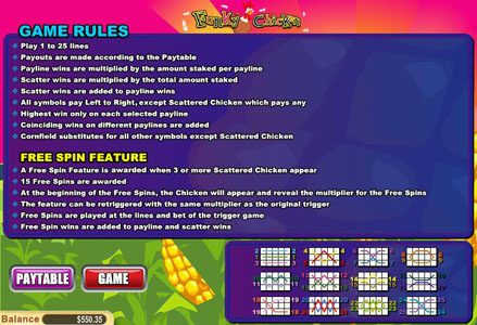 Red Stag featuring the Video Slots Funky Chicken with a maximum payout of $50,000