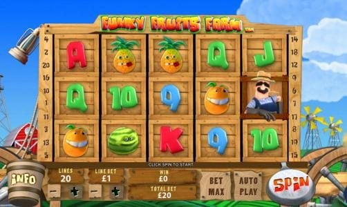 Funky Fruits Farm :: main game board featuring five reels and twenty paylines with a chance to win a max 10,000x coins