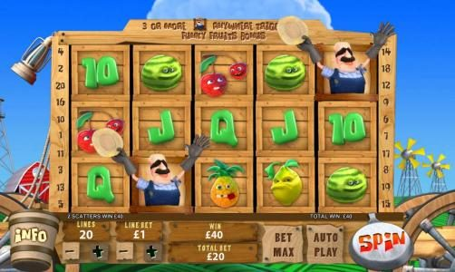 Funky Fruits Farm :: a pair of scatter symbols triggers a x2 your line bet payout