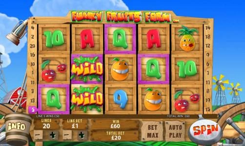 Funky Fruits Farm :: multiple winning paylines triggers a 60 coin jackpot