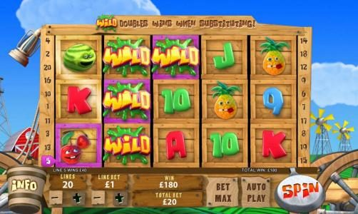 Funky Fruits Farm :: 180 coin big win triggered by stacked wilds
