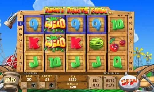 Funky Fruits Farm :: four of a kind is part of a winning combination of paylines to add a 126 coin jackpot