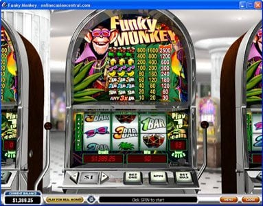 21 Nova featuring the Video Slots Funky Monkey with a maximum payout of $37.500