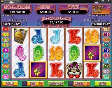 Slotsville featuring the Video Slots Funky Monkey with a maximum payout of $250,000