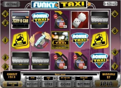 Videoslots featuring the Video Slots Funky Taxi with a maximum payout of $45,000
