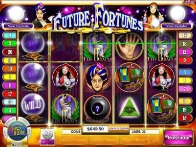Desert Nights Rival featuring the Video Slots Future Fortunes with a maximum payout of $12,500