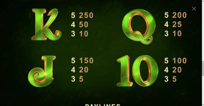 Gaelic Luck :: Low value game symbols paytable