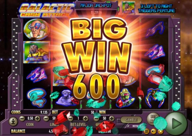 Oshi featuring the Video Slots Galactic Cash Attack with a maximum payout of $100,000