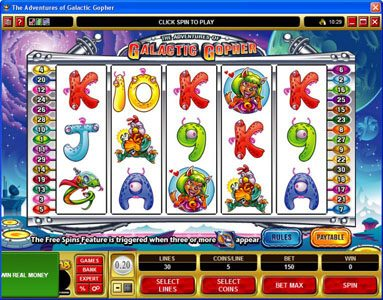 Simba Games featuring the Video Slots Galatic Gopher with a maximum payout of $37,500