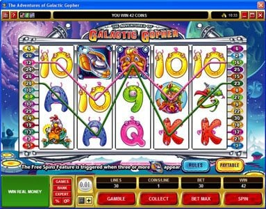Play slots at Spin Hill: Spin Hill featuring the Video Slots Galatic Gopher with a maximum payout of $37,500
