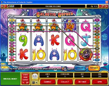 King Billy featuring the Video Slots Galatic Gopher with a maximum payout of $37,500