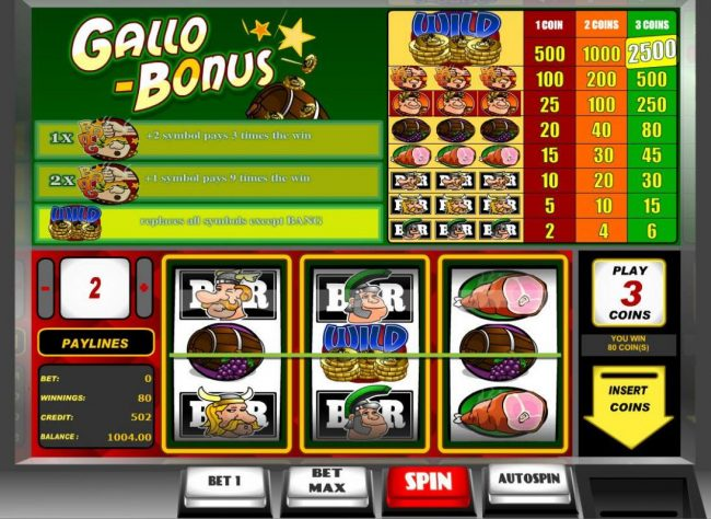 Joe Fortune featuring the Video Slots Gallo Bonus with a maximum payout of $5,000
