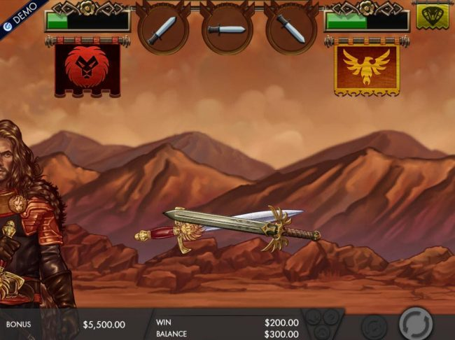 Casimba featuring the Video Slots Game of Swords with a maximum payout of $12,500