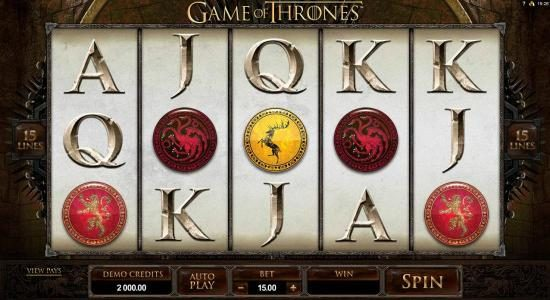 Play slots at Play Club Casino: Play Club Casino featuring the Video Slots Game of Thrones - 15 Lines with a maximum payout of $3,000
