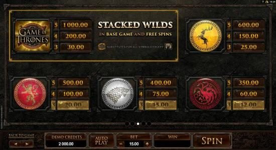 777Dragon featuring the Video Slots Game of Thrones - 15 Lines with a maximum payout of $3,000