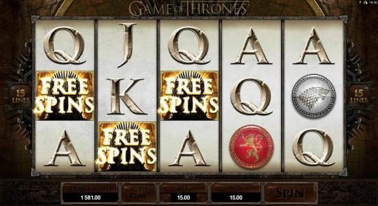 Three scatter symbols triggers free spins feature