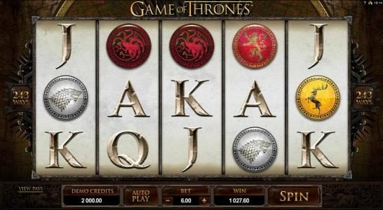 Play slots at Royal Vegas: Royal Vegas featuring the Video Slots Game of Thrones - 243 Ways with a maximum payout of $121,000