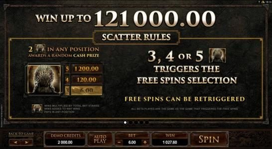 King Neptunes featuring the Video Slots Game of Thrones - 243 Ways with a maximum payout of $121,000