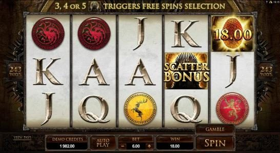 UK Casino Club featuring the Video Slots Game of Thrones - 243 Ways with a maximum payout of $121,000