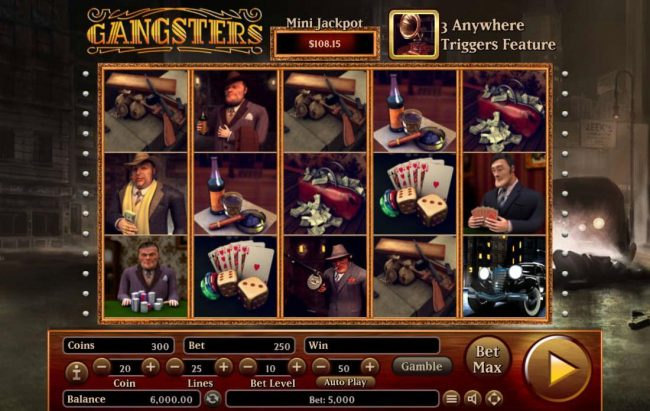 Gangsters :: Main game board featuring five reels and 25 paylines with a $2,500,000 max payout.