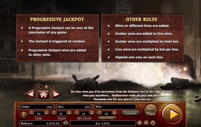 Gangsters :: Progressive Jackpots and General Game Rules.