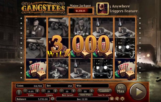 Gangsters :: A winning Five of a Kind pays a 3,000.00 jackpot.