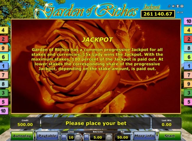Garden of Riches :: Jackpot Rules