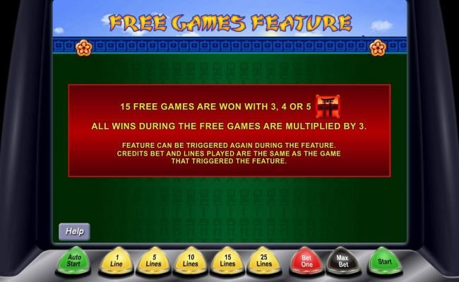 15 free games are won with 3, 4 or 5 Japanese Gateway symbols. All win during free games are multiplied by 3. Feature can be re-triggered again during the feature.