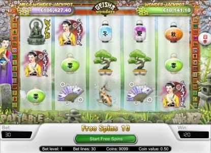 Orientxpress featuring the Video Slots Geisha Wonders with a maximum payout of $20,000