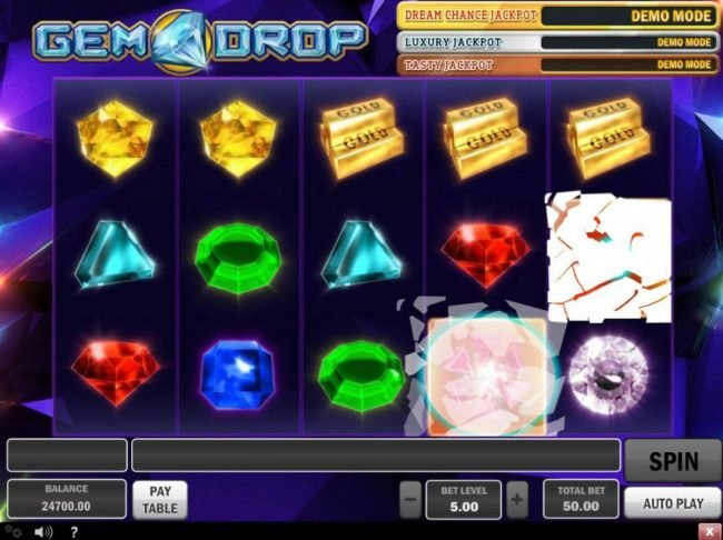 Joker Casino featuring the Video Slots Gem Drop with a maximum payout of $150,000