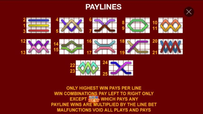 Payline Diagrams 1-25. Only highest win pays per line. Win combinations pay left to right only, except scatter which pays any. Payline wins are multiplied by the line bet.