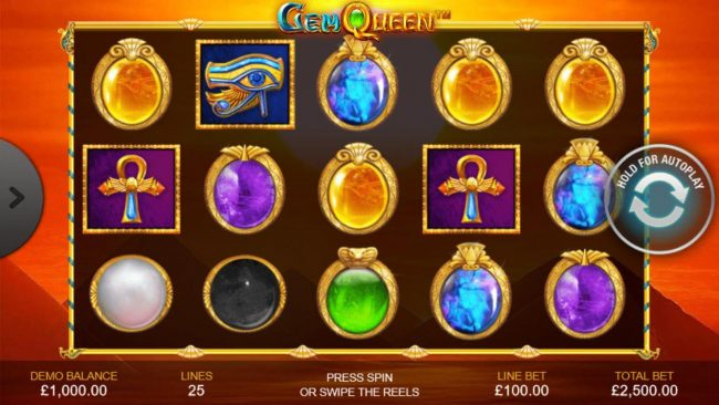Play slots at Casino.DK: Casino.DK featuring the Video Slots Gem Queen with a maximum payout of $500,000