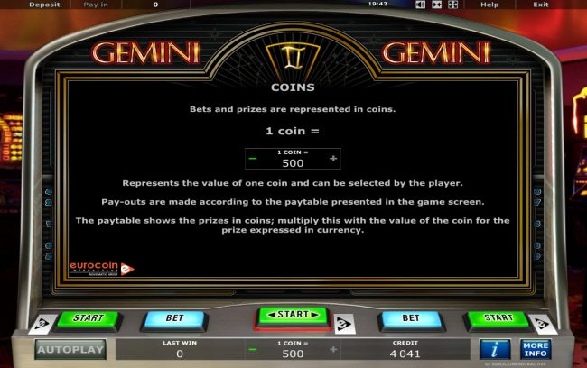 Energy featuring the Video Slots Gemini Twin with a maximum payout of $10,000,000