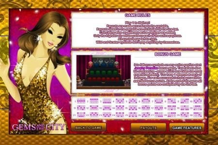 Come On featuring the Video Slots Gems and the City with a maximum payout of $25,000