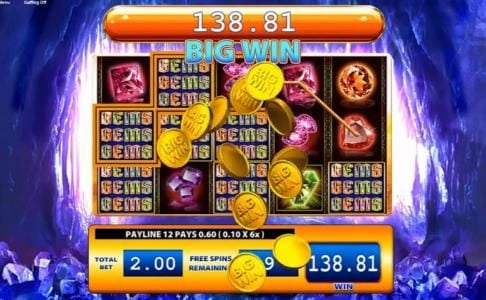 Casumo featuring the Video Slots Gems Gems Gems with a maximum payout of $400