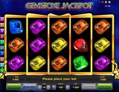Gemstone Jackpot :: Main game board featuring five reels and 10 paylines with a $500,000 max payout