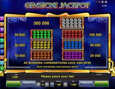Gemstone Jackpot :: High value slot game symbols paytable